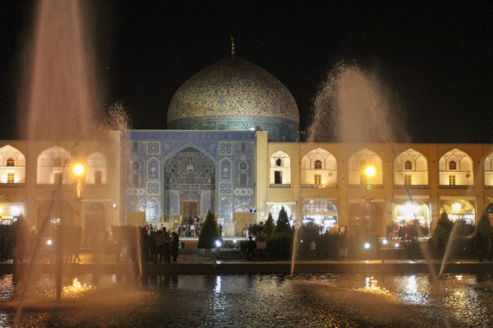 Naqsh-e Jahan Square at night, Lotfollah Mosque entrance